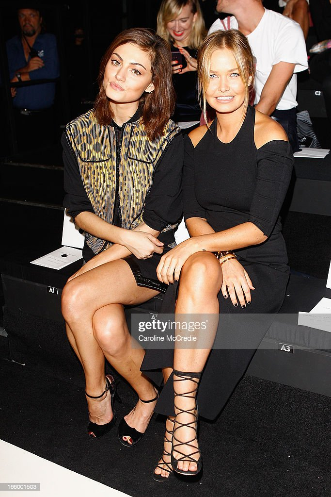 Model <a gi-track='captionPersonalityLinkClicked' href=/galleries/search?phrase=Phoebe+Tonkin&family=editorial&specificpeople=5338240 ng-click='$event.stopPropagation()'>Phoebe Tonkin</a> and <a gi-track='captionPersonalityLinkClicked' href=/galleries/search?phrase=Lara+Bingle&family=editorial&specificpeople=553554 ng-click='$event.stopPropagation()'>Lara Bingle</a> attend the Camilla and Marc show during Mercedes-Benz Fashion Week Australia Spring/Summer 2013/14 at Carriageworks on April 8, 2013 in Sydney, Australia.