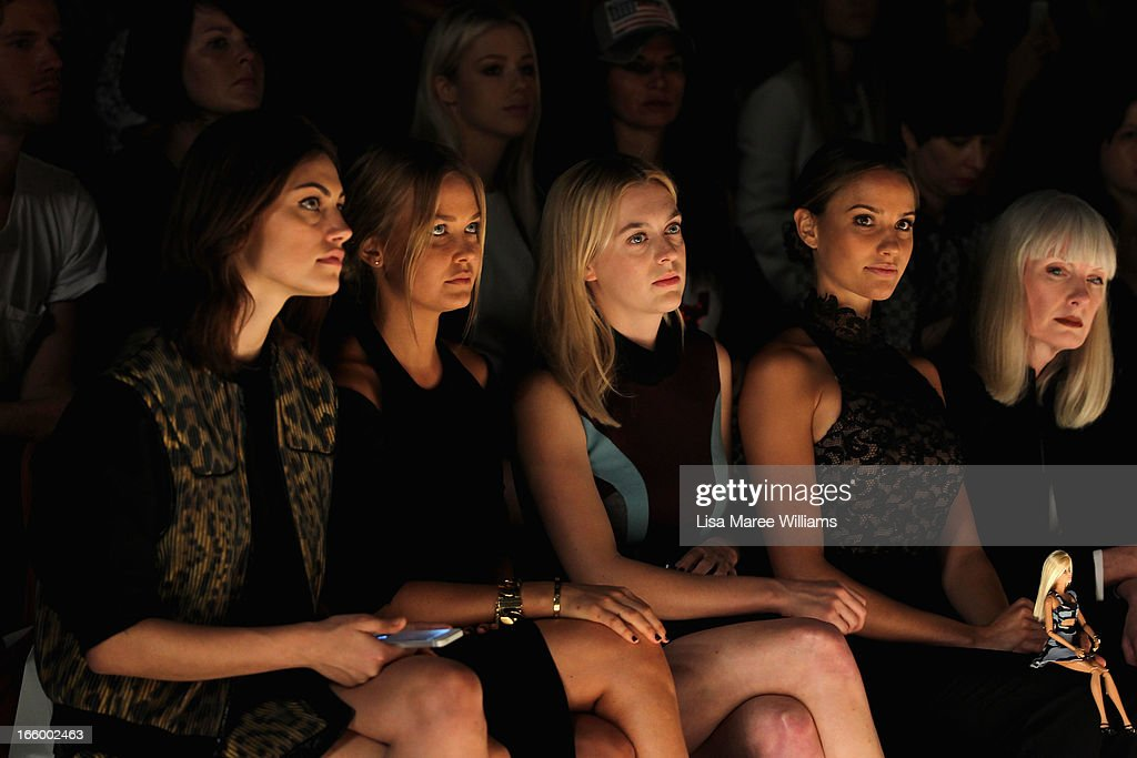 Model <a gi-track='captionPersonalityLinkClicked' href=/galleries/search?phrase=Phoebe+Tonkin&family=editorial&specificpeople=5338240 ng-click='$event.stopPropagation()'>Phoebe Tonkin</a>, <a gi-track='captionPersonalityLinkClicked' href=/galleries/search?phrase=Lara+Bingle&family=editorial&specificpeople=553554 ng-click='$event.stopPropagation()'>Lara Bingle</a>, <a gi-track='captionPersonalityLinkClicked' href=/galleries/search?phrase=Gracie+Otto&family=editorial&specificpeople=576434 ng-click='$event.stopPropagation()'>Gracie Otto</a> and <a gi-track='captionPersonalityLinkClicked' href=/galleries/search?phrase=Rachael+Finch&family=editorial&specificpeople=5521670 ng-click='$event.stopPropagation()'>Rachael Finch</a> attend the Camilla and Marc show during Mercedes-Benz Fashion Week Australia Spring/Summer 2013/14 at Carriageworks on April 8, 2013 in Sydney, Australia.
