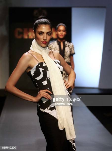 Model Pia Trivedi walks on ramp during final day of the Chivas Fashion Tour at ITC Grand Maratha Sahar