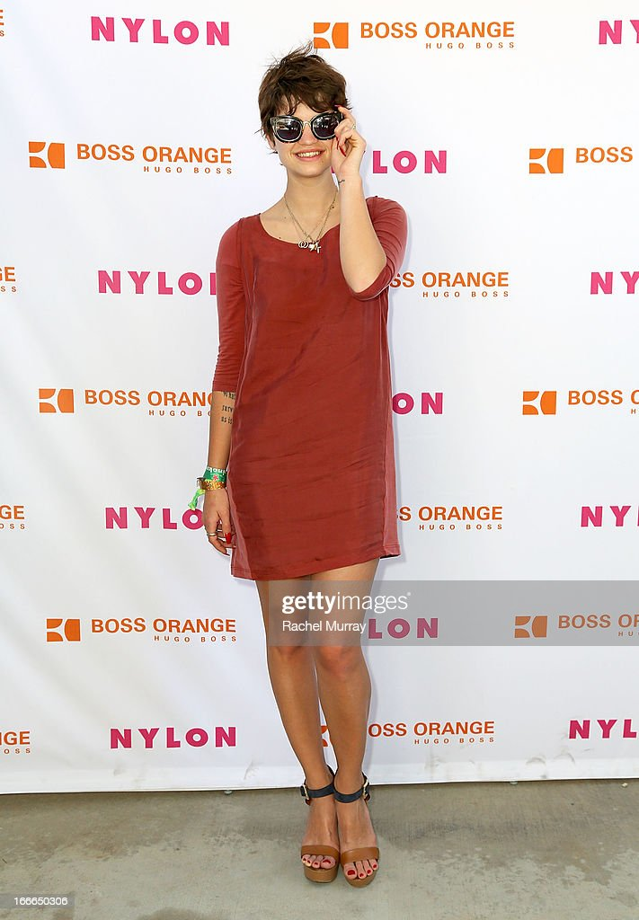 Model Pixie Geldof in Hugo Boss attends NYLON x BOSS ORANGE Escape House - Day 2 at Lake La Quinta Inn on April 14, 2013 in La Quinta, California.