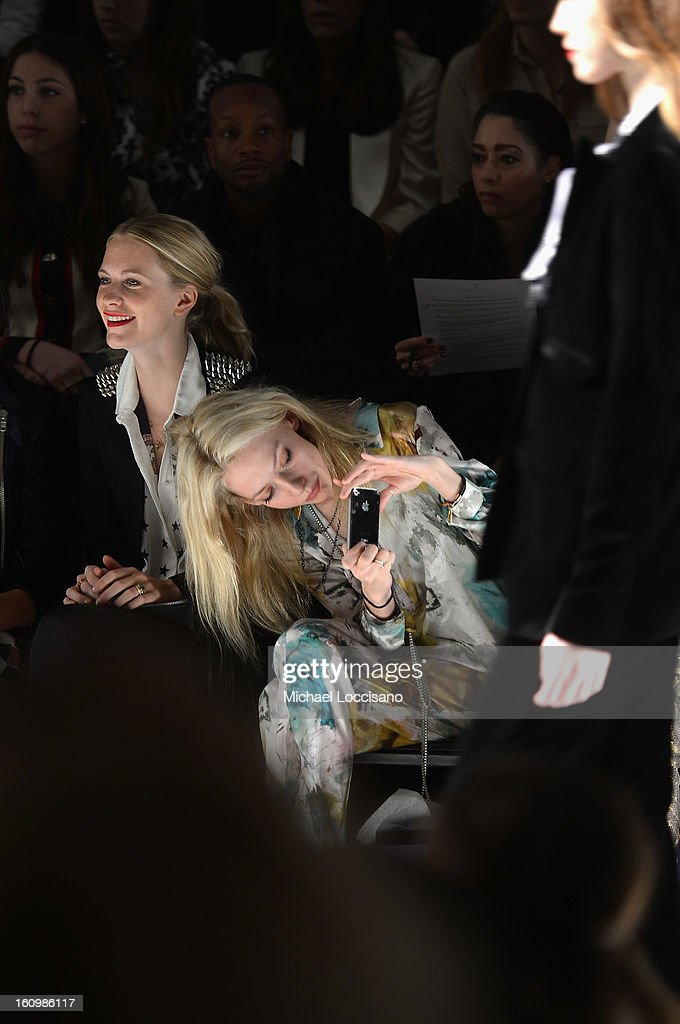 Model <a gi-track='captionPersonalityLinkClicked' href=/galleries/search?phrase=Poppy+Delevingne&family=editorial&specificpeople=2348985 ng-click='$event.stopPropagation()'>Poppy Delevingne</a> and Cory Kennedy attend the Noon By Noor Fall 2013 fashion show during Mercedes-Benz Fashion at The Studio at Lincoln Center on February 8, 2013 in New York City.