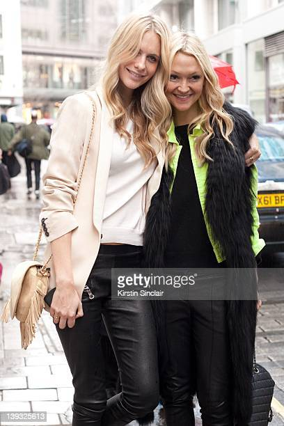 Model Poppy Delevingne and Editor of US Marie Claire Zanna Roberts Rassi street style at London fashion week autumn/winter 2012 womenswear shows on...