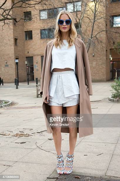 Model Poppy Delevingne on day 3 of London Collections Women on February 16 2014 in London England