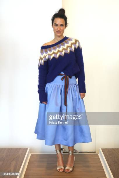 A model pose during the JCrew presentation at New York Fashion Week at Spring Studios on February 12 2017 in New York City