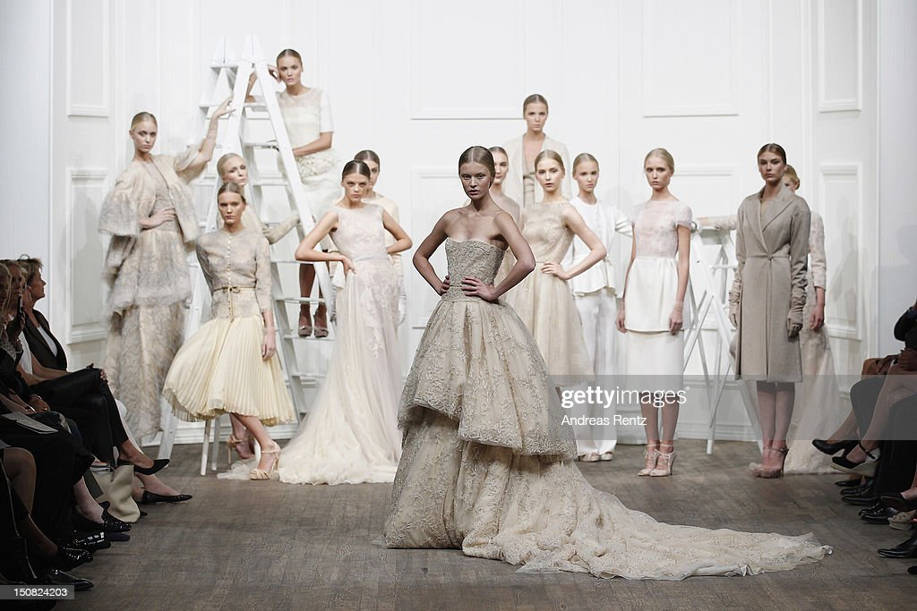 Model pose on the runway during the Fadi El Khoury S/S 2013 Fashion Show at the Mercedes-Benz Stockholm Fashion Week on August 27, 2012 in Stockholm, Sweden.