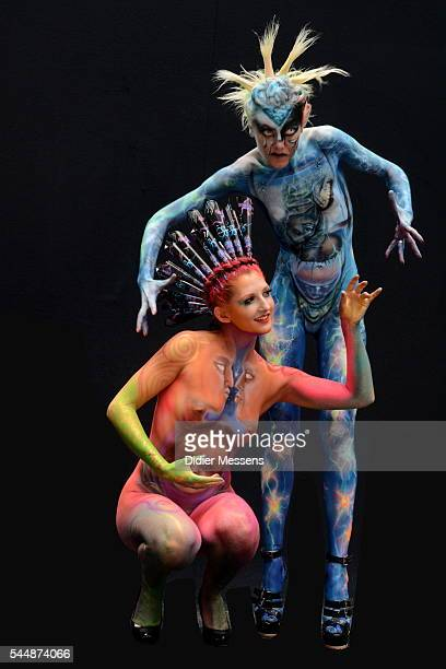 Model pose with their bodypainting during the World Bodypainting Festival on July 3 2016 in Poertschach am Woerthersee Austria