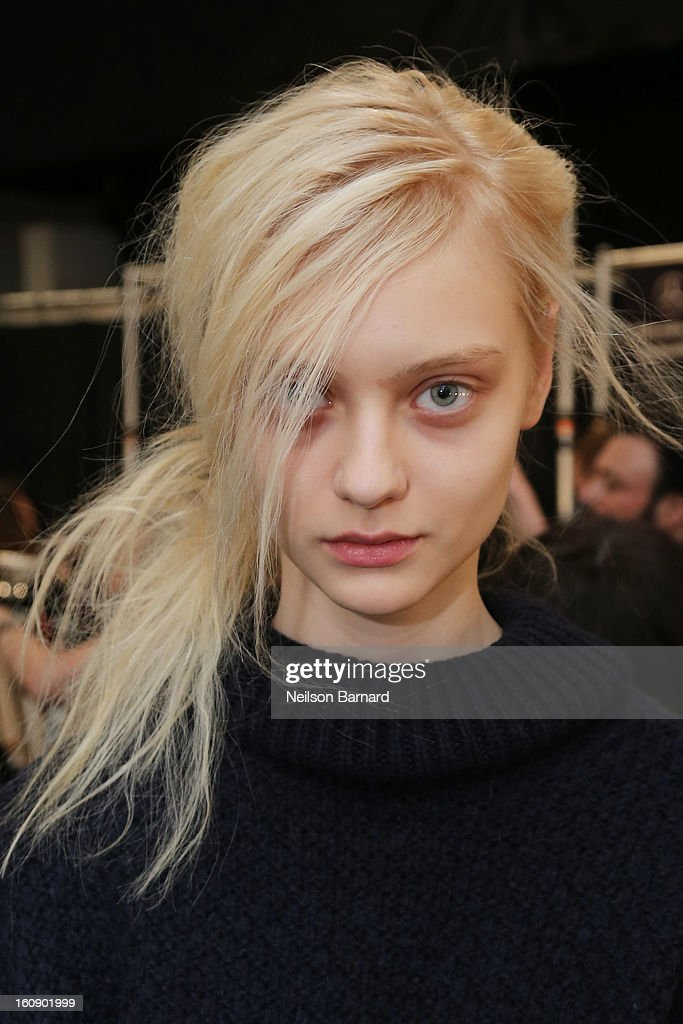 A model poses after being styled by Rodney Cutler, Redken Expert And Celebrity Runway Stylist For THE SALON At Ulta Beauty Backstage At The Tadashi Shoji Fall 2013 Show on February 7, 2013 in New York City.