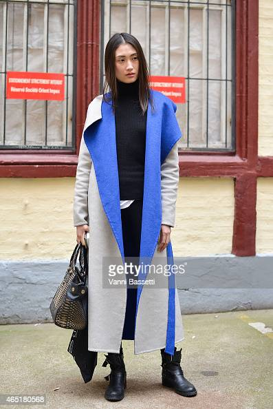 A model poses after Devastee show on Day 1 of Paris Fashion Week FW15 on March 3 2015 in Paris France