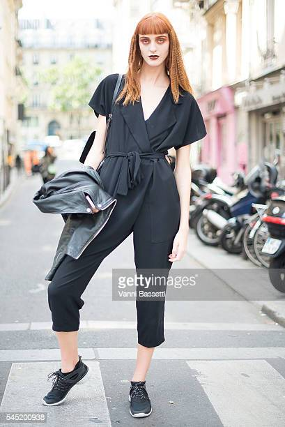A model poses after the Jean Paul Gaultier show during Paris Fashion Week Haute Couture FW 16/17 on July 6 2016 in Paris France
