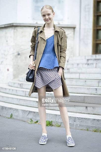 A model poses after the Viktor and Rolf show at the Palais de Tokyo on July 8 2015 in Paris France