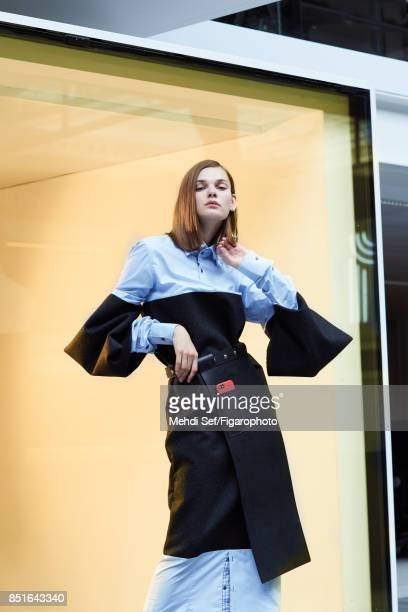 Model poses at a fashion shoot for Madame Figaro on July 22 2017 in Paris France Dress and belt earring iPhone 6 PUBLISHED IMAGE CREDIT MUST READ...