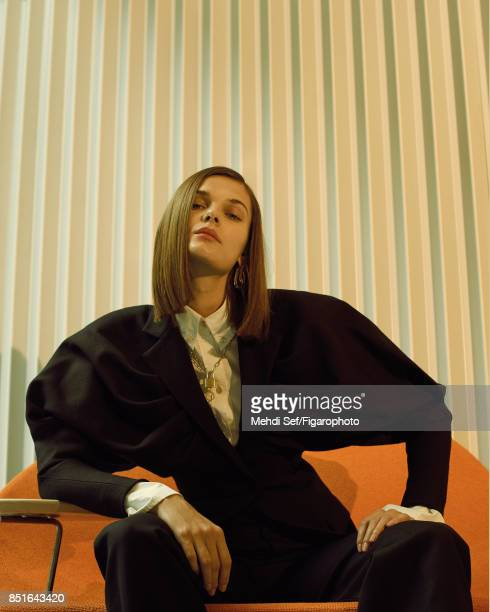 Model poses at a fashion shoot for Madame Figaro on July 22 2017 in Paris France Jacket and pants shirt earrings necklace PUBLISHED IMAGE CREDIT MUST...