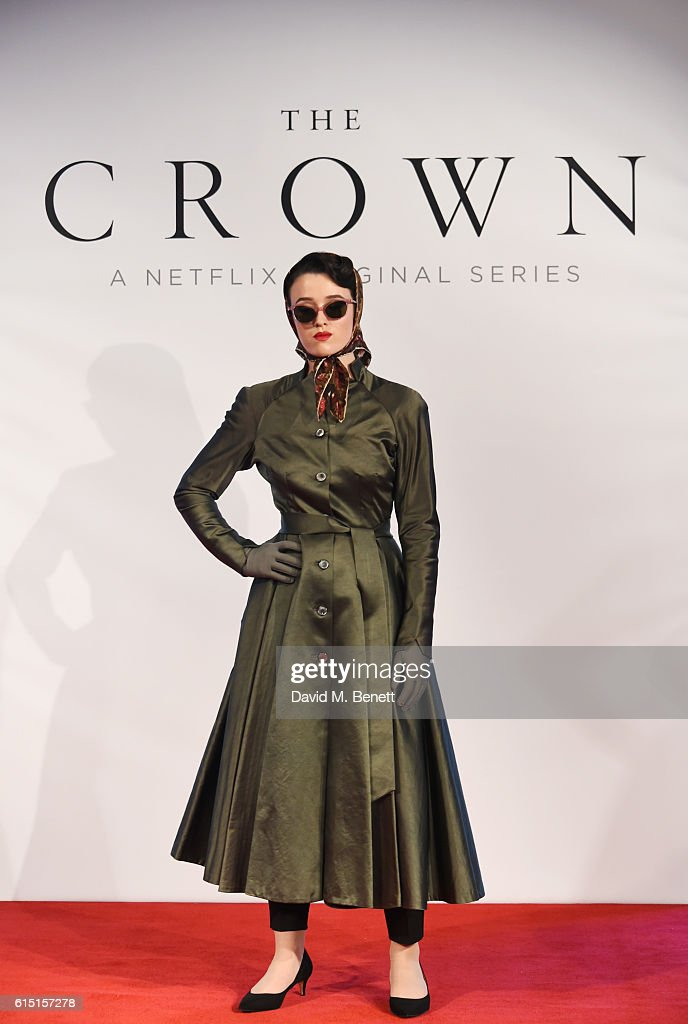 A model poses at a presentation featuring costumes from new Netflix Original series 'The Crown' with designer Michele Clapton at the ICA on October 17, 2016 in London, England.