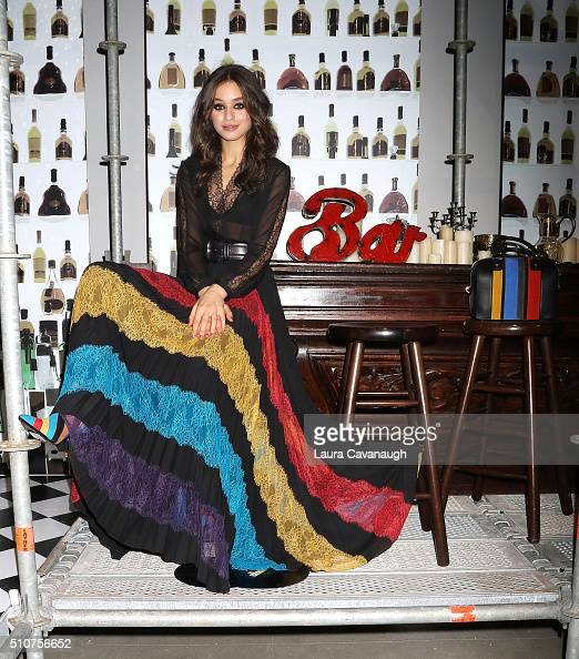 A model poses at Alice Olivia By Stacey Bendet Presentation Fall 2016 New York Fashion Week The Shows at The Gallery Skylight at Clarkson Sq on...