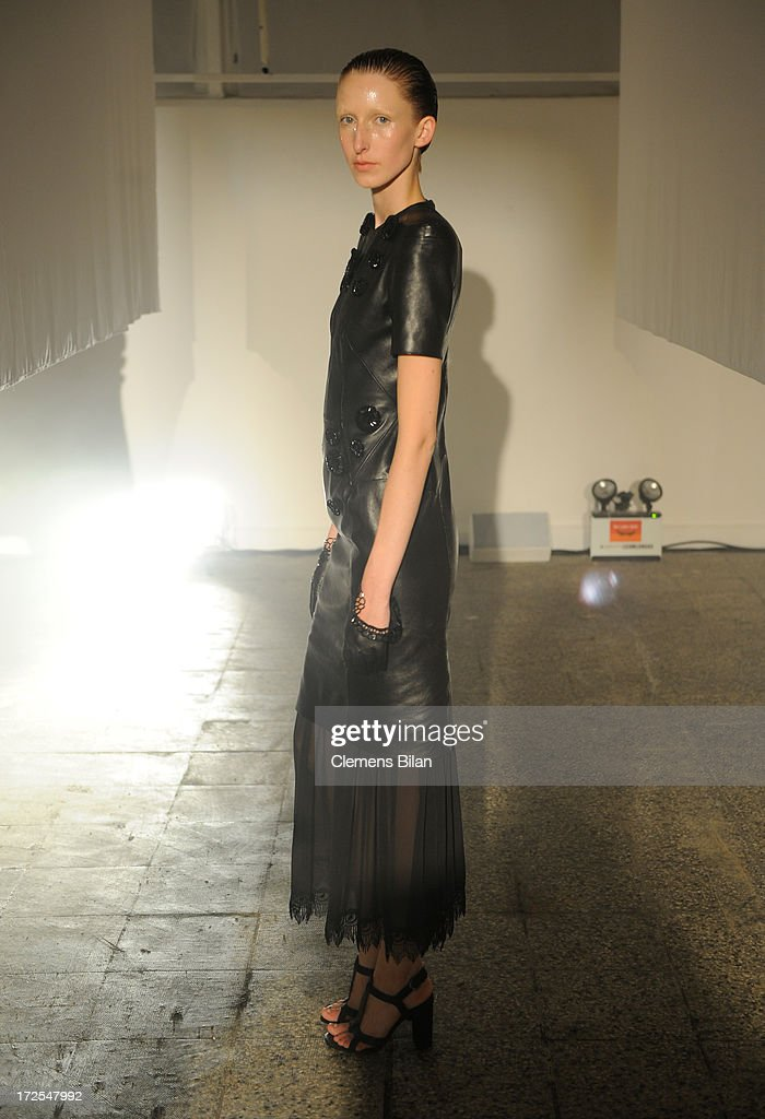 A model poses at Augustin Teboul Show during Mercedes-Benz Fashion Week Spring/Summer 2014 at Brandenburg Gate on July 3, 2013 in Berlin, Germany.