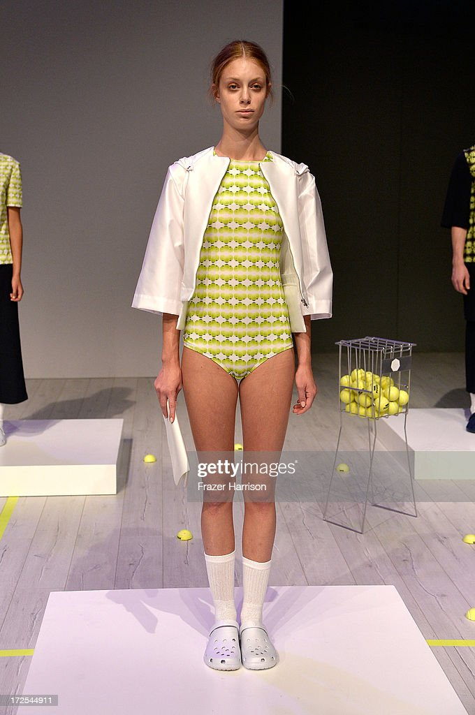 A model poses at Franziska Michael Show during Mercedes-Benz Fashion Week Spring/Summer 2014 at Brandenburg Gate on July 3, 2013 in Berlin, Germany.