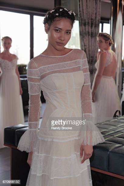A model poses at Gemy Maalouf's bridal presentation segment during New York Fashion Week Bridal April 2017 at PHD Rooftop Lounge at Dream Downtown on...