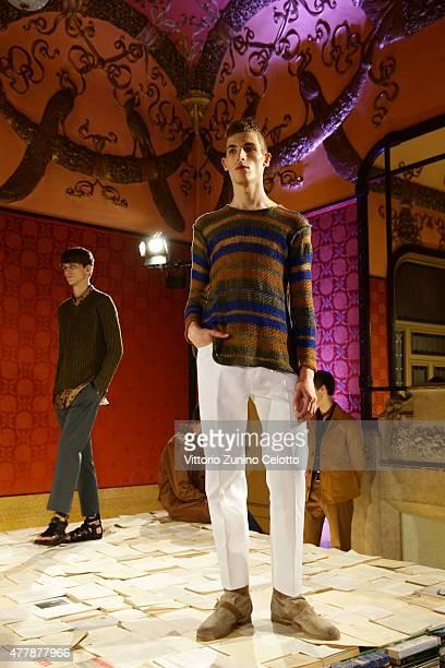 A model poses at Iceberg press presentation as part of Milan Men's Fashion Week Spring/Summer 2016 on June 20 2015 in Milan Italy