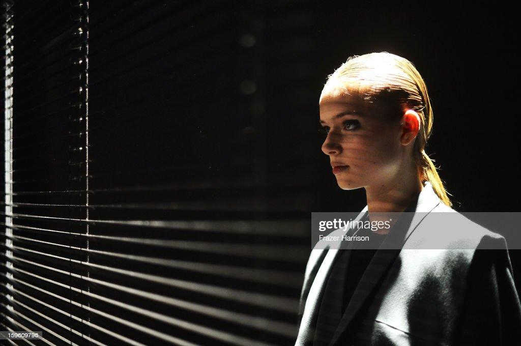 A Model Poses at Isabell De Hillerin Autumn/Winter 2013/14 fashion show during Mercedes-Benz Fashion Week Berlin at Brandenburg Gate on January 17, 2013 in Berlin, Germany.
