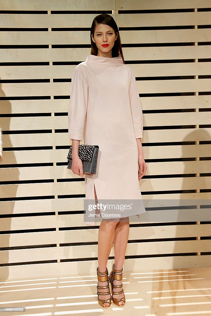 A model poses at J.Crew presentation during Mercedes-Benz Fashion Week Fall 2014 at The Pavilion at Lincoln Center on February 11, 2014 in New York City.