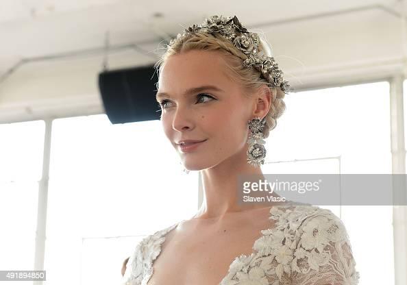 A model poses at Marchesa Bridal Fall/Winter 2016 presentation at Canoe Studios on October 8 2015 in New York City