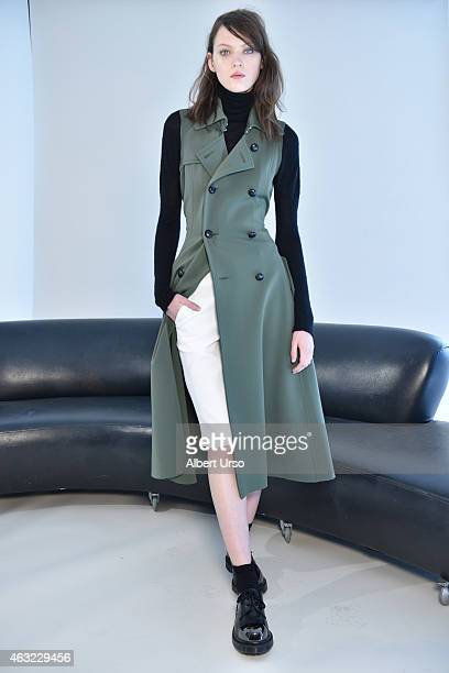 A model poses at Organic by John Patrick presentation at the Refinery Hotel during New York Fashion week on February 11 2015 in New York City