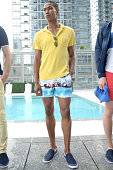A model poses at Orlebar Brown presents the Spring/Summer 2017 Collection in partnership with Bold New York and Lifetime Athletic At Sky on July 13...