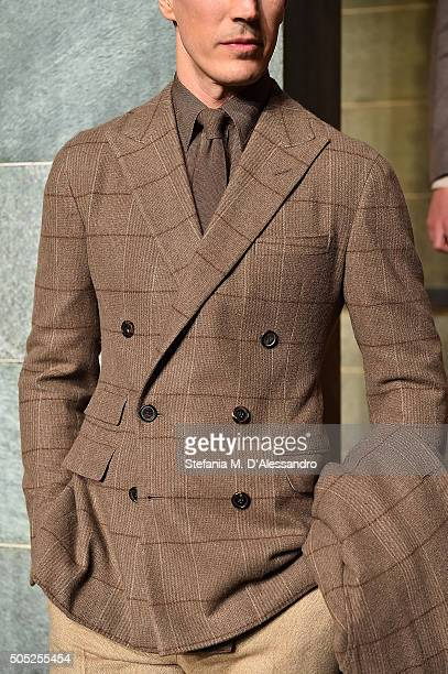 A model poses at Ralph Lauren Purple Label Presentation as part of Milan Men's Fashion Week FW16 on January 16 2016 in Milan Italy
