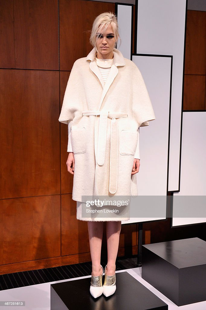 A model poses at Raoul Prestentation during Mercedes-Benz Fashion Week Fall 2014 at Stanley H. Kaplan Penthouse at Lincoln Center on February 6, 2014 in New York City.