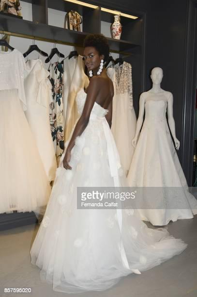 A model poses at Sachin Babi Presentation at New York Fashion Week Bridal October 2017 on October 4 2017 in New York City