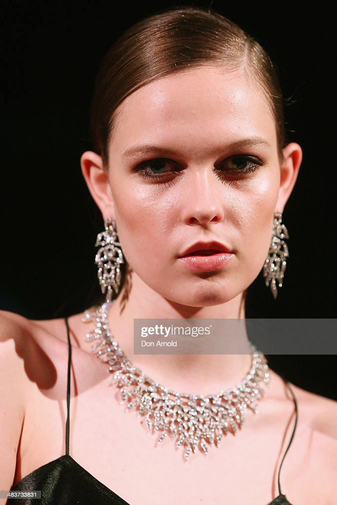 A model poses at the 130th Anniversary of Bvlgari Gala Dinner at a private residence in Darling Point on April 10, 2014 in Sydney, Australia.
