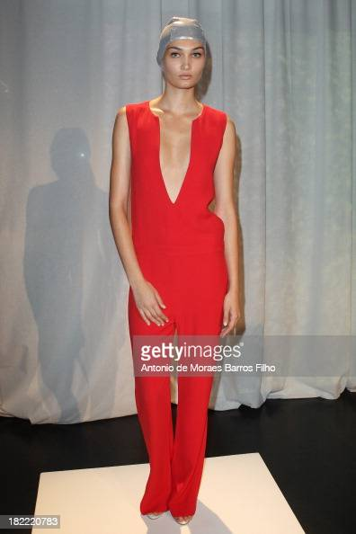 A model poses at the Adriana Degreas Presentation as part of the Paris Fashion Week Womenswear Spring/Summer 2014 on September 28 2013 in Paris France