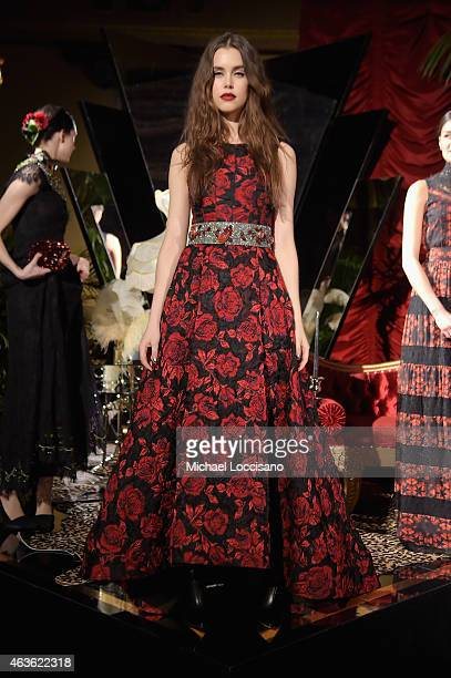 A model poses at the alice olivia by Stacey Bendet presentation during MercedesBenz Fashion Week Fall 2015 on February 16 2015 in New York City