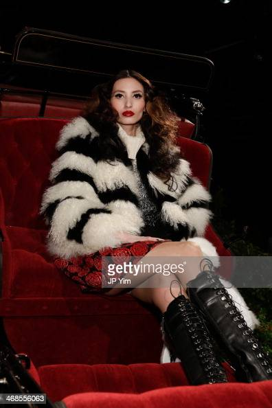 A model poses at the Alice Olivia Fall 2014 Presentation during MercedesBenz Fashion Week Fall 2014 at The McKittrick Hotel on February 10 2014 in...