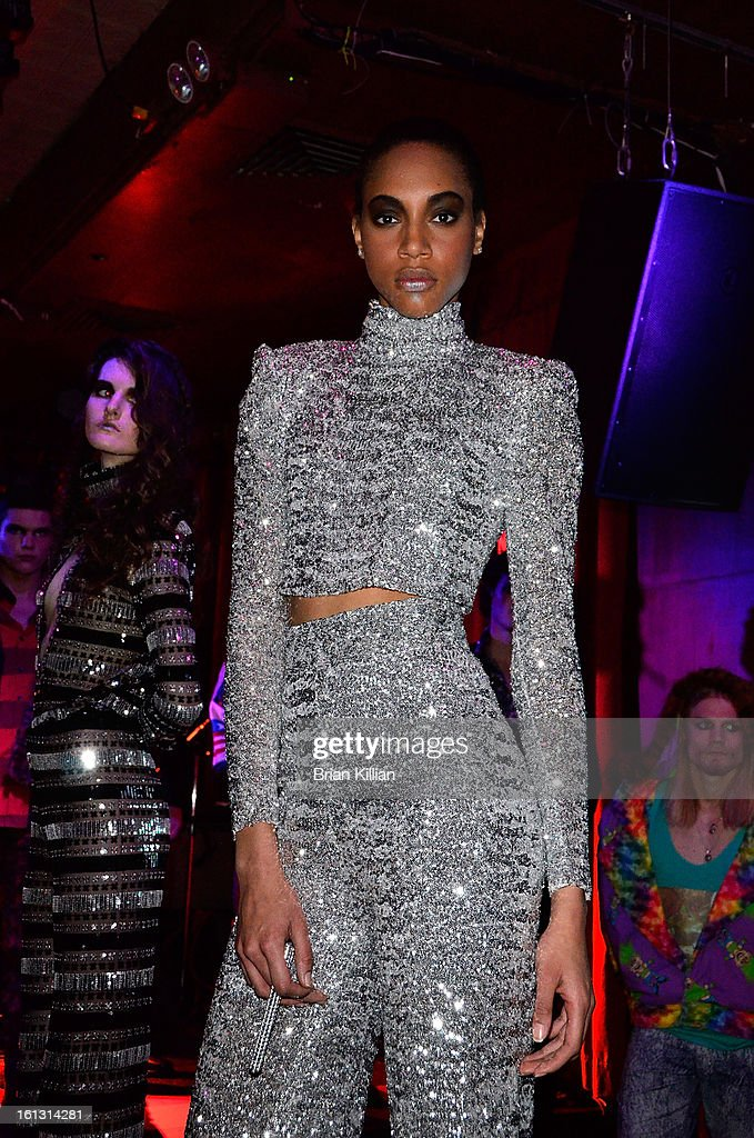 A model poses at the Anna Francesca Presentation during Fall 2013 Mercedes-Benz Fashion Week at Tammany Hall on February 9, 2013 in New York City.