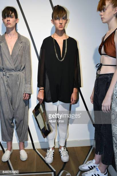 A model poses at the Berenik presentation during New York Fashion Week on September 12 2017 in New York City