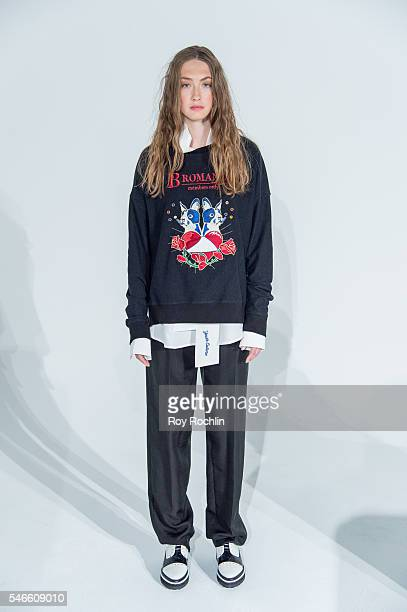 A model poses at the Beyond Closet Capsule Collection presentation during New York Fashion Week Men's S/S 2017 at Industria Superstudio on July 12...