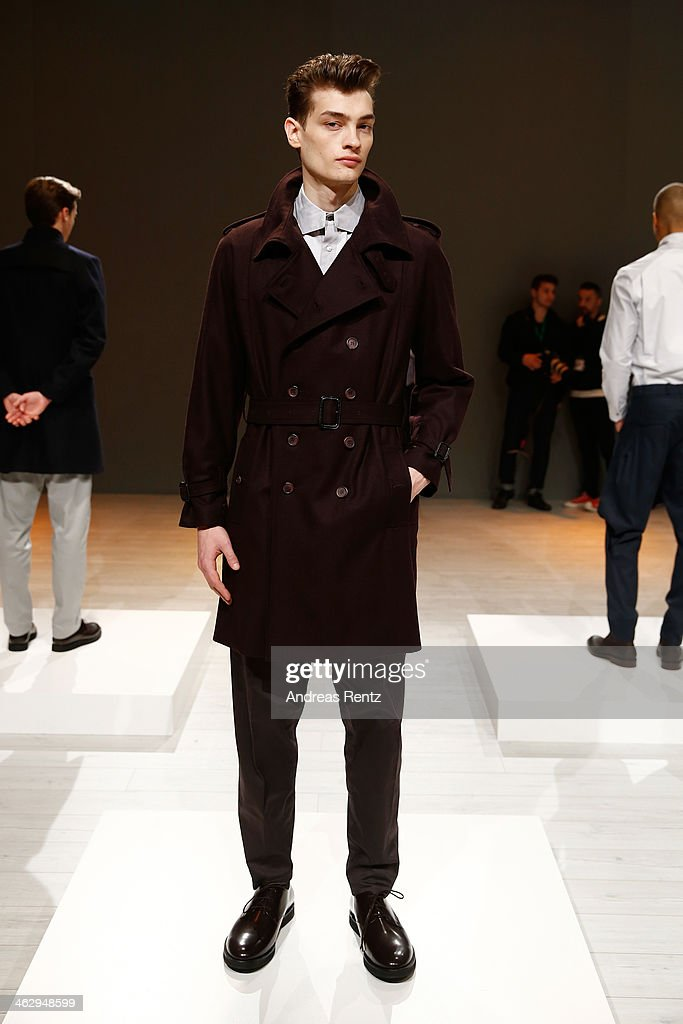 A model poses at the Brachmann show during Mercedes-Benz Fashion Week Autumn/Winter 2014/15 at Brandenburg Gate on January 16, 2014 in Berlin, Germany.