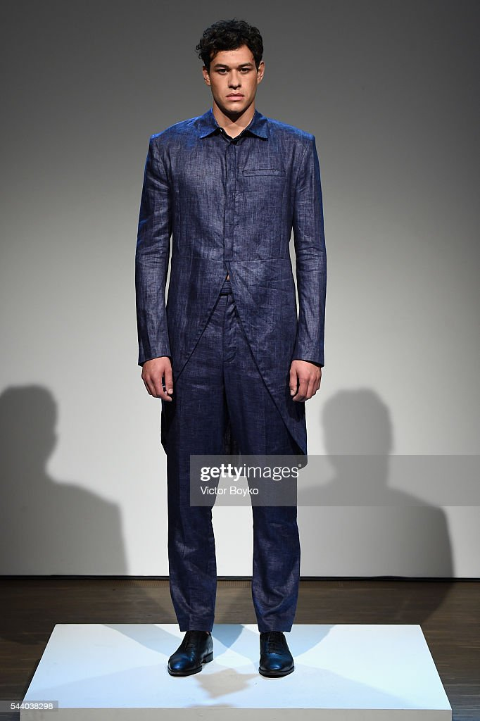 A model poses at the Brachmann show during the Mercedes-Benz Fashion Week Berlin Spring/Summer 2017 at Stage at me Collectors Room on July 1, 2016 in Berlin, Germany.
