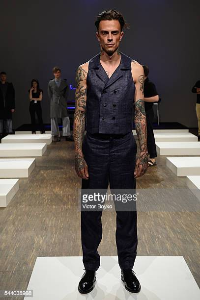 A model poses at the Brachmann show during the MercedesBenz Fashion Week Berlin Spring/Summer 2017 at Stage at me Collectors Room on July 1 2016 in...