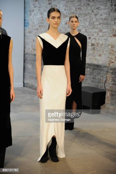 A model poses at the Christopher Esber presentation on February 13 2017 in New York City