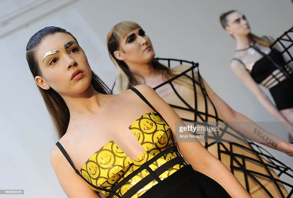 A model poses at the Chromat Fall 2013 Presentation during Mercedes-Benz Fashion Week at Industria Superstudio on February 6, 2013 in New York City.
