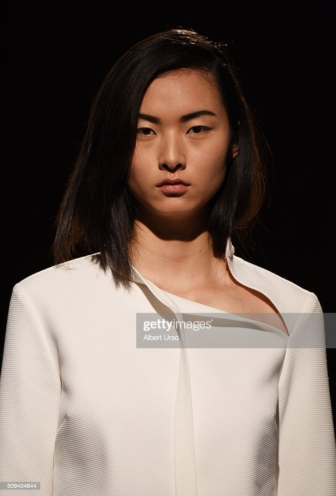 A model poses at the Claudia Li presentation during New York Fashion Week Women's Fall/Winter 2016 at ArtBeam on February 10, 2016 in New York City.