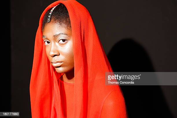 A model poses at the CZAR by Cesar Galindo Spring 2014 Presentation during MercedesBenz Fashion Week at The Box in Lincoln Center in New York City on...