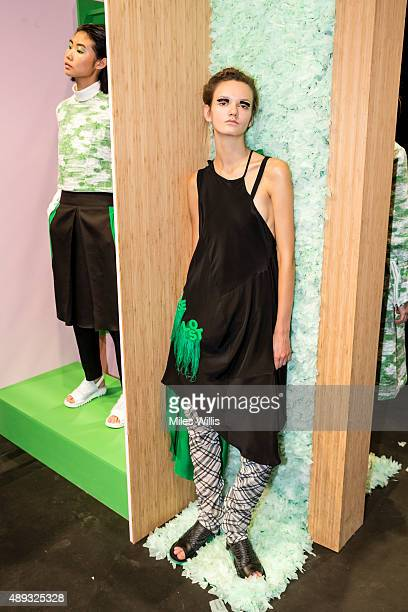 A model poses at the Danielle Romeril presentation during London Fashion Week Spring/Summer 2016/17 on September 20 2015 in London England