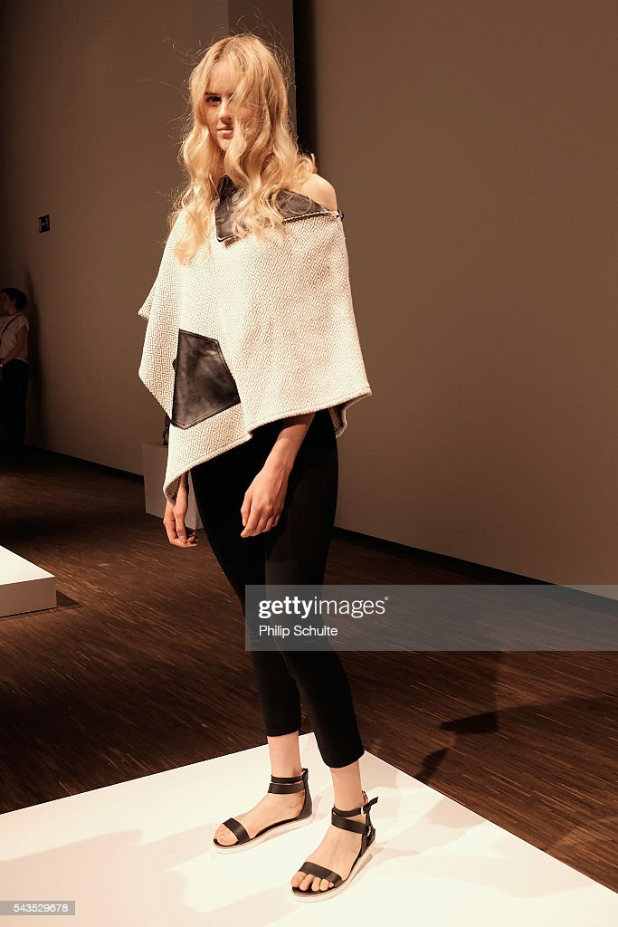 A model poses at the Dime-Mexico Fashion Design show during the Mercedes-Benz Fashion Week Berlin Spring/Summer 2017 at Stage at me Collectors Room on June 29, 2016 in Berlin, Germany.