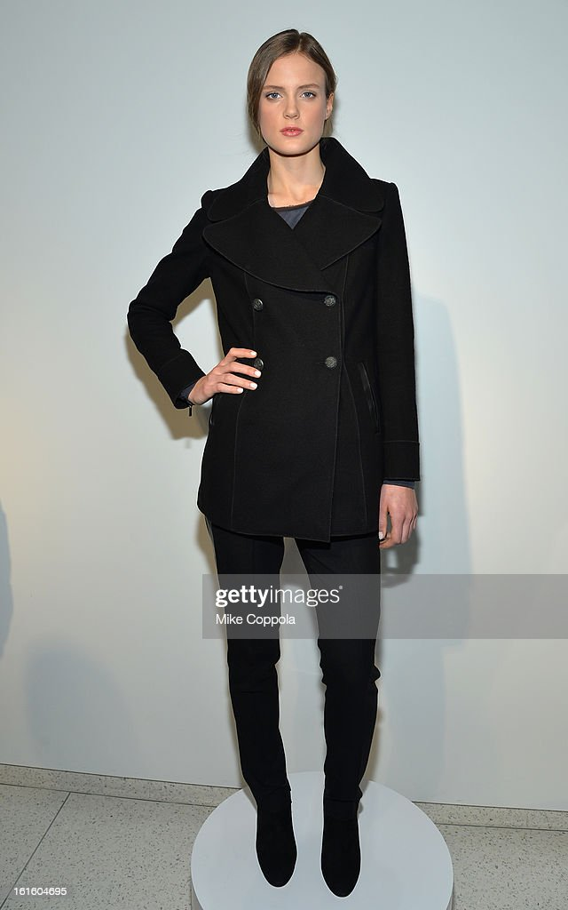 A model poses at the Elie Tahari Fall 2013 fashion show presentation during Mercedes-Benz Fashion Week at The Studio at Lincoln Center on February 12, 2013 in New York City.