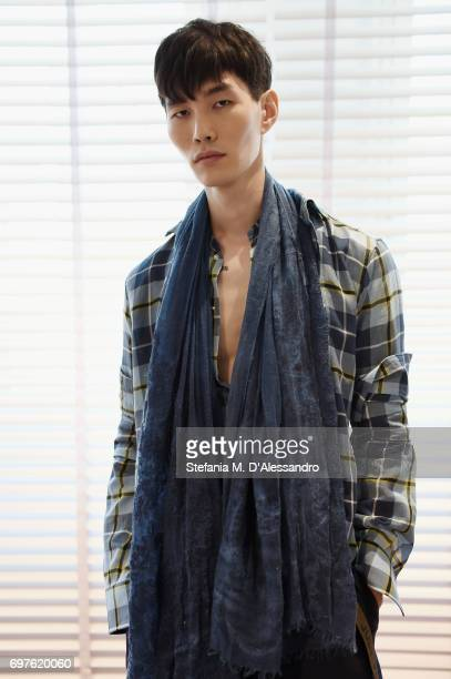 A model poses at the Ermanno Scervino Presentation during Milan Men's Fashion Week Spring/Summer 2018 on June 19 2017 in Milan Italy