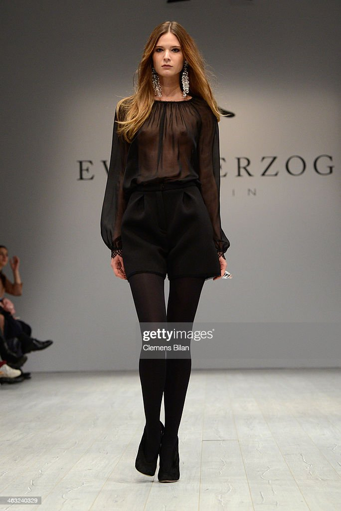 A model poses at the Ewa Herzog show during Mercedes-Benz Fashion Week Autumn/Winter 2014/15 at Brandenburg Gate on January 17, 2014 in Berlin, Germany.