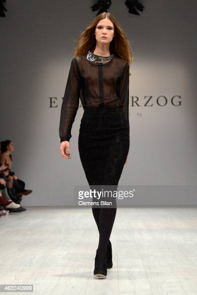 A model poses at the Ewa Herzog show during MercedesBenz Fashion Week Autumn/Winter 2014/15 at Brandenburg Gate on January 17 2014 in Berlin Germany